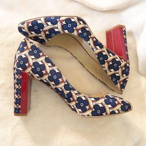 Nine West | Floral print red block heel pumps